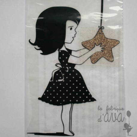 "Appliqué en flex thermocollant ""fille à l'étoile"""