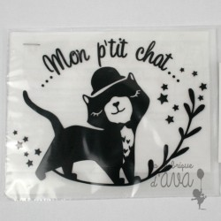 "Appliqué en flex thermocollant ""Mon p'tit chat"""