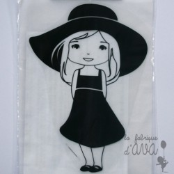 "Appliqué en flex thermocollant ""Fille au chapeau"""